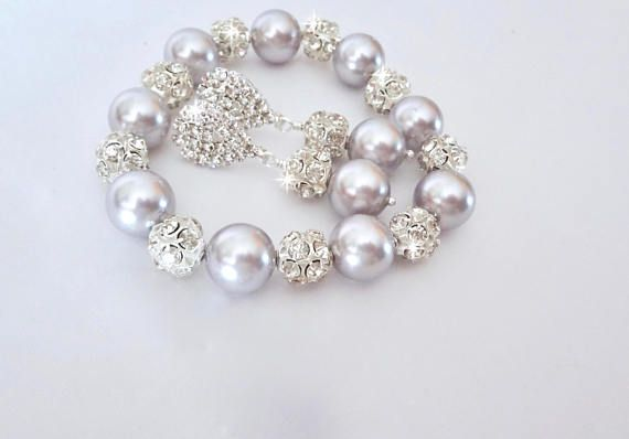 Pearl jewelry set ~ Purple pearl jewelry set ~ Lavender pearl set ~ Brides jewelry set ~ Bridesmaid pearl set, Love this chunky purple pearl and rhinestone bracelet and earrings set. Perfect bridal jewelry. Brides, bridesmaids, mother of the bride, prom, or any other formal