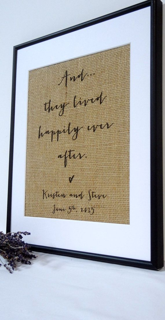 Personalized Burlap Wedding Gift. Great gift idea. U can print on burlap yourself & frame it.