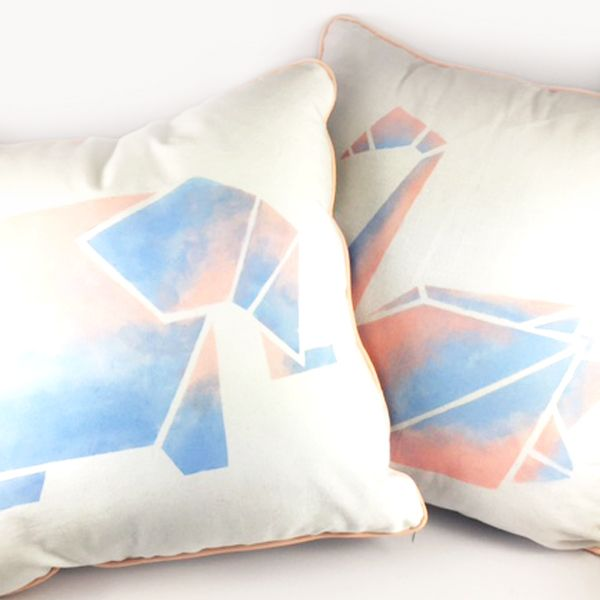 Origami inspired design on 100%cotton cushion cover.