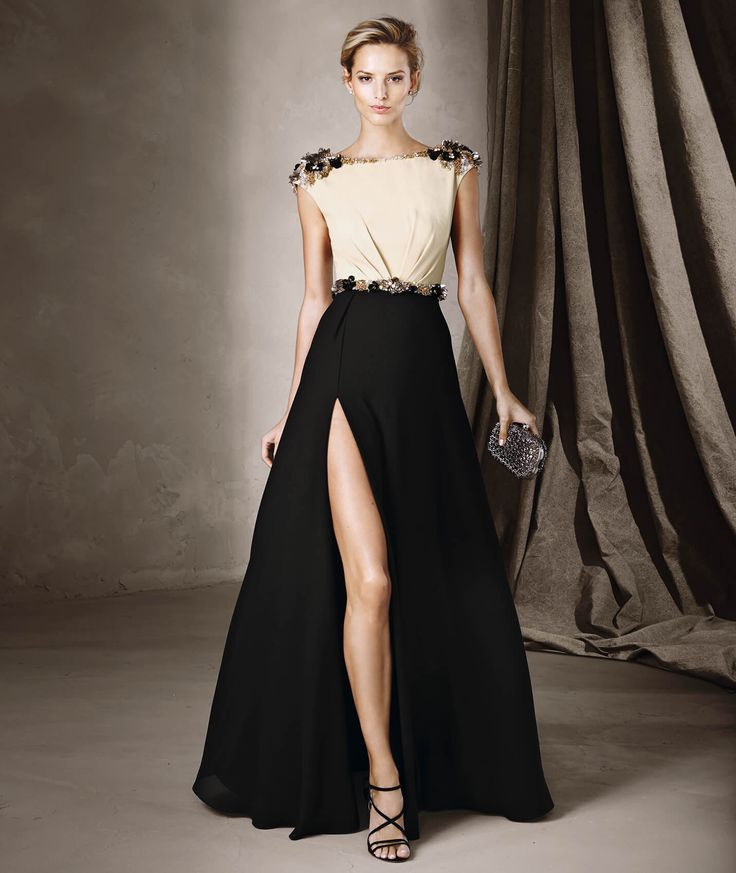 CLARA - Vestido comprido bicolor estilo evasé | Pronovias