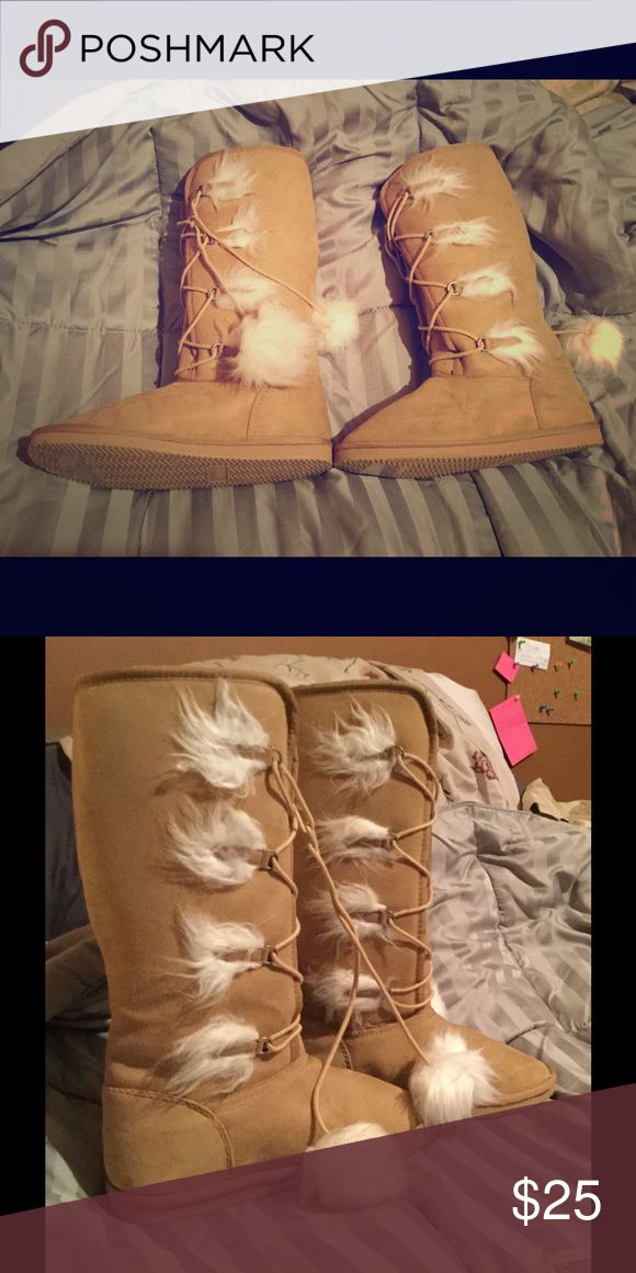 "❄️NWTs Fuzzy Wuzzy Boots Tan/khaki boots, fuzzies, 15"" top to bottom. Decorative lace up front. Size 9 Shoe Dazzle Shoes Winter & Rain Boots"