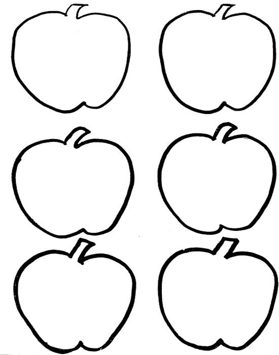 Six Red Apple Fruit Coloring Pages