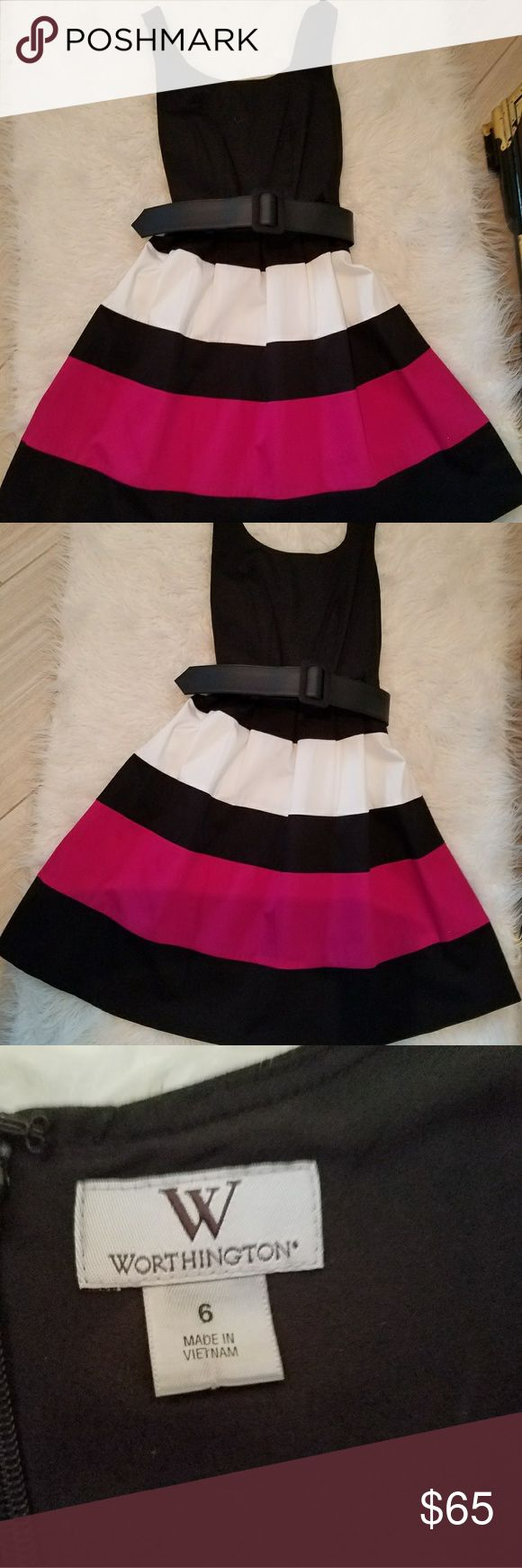 Worthington summer dress 🔥TEA TIME🔥 Sassy black, white and hot pink dress!! This dress was worn once to a luncheon. Perfect condition Worthington Dresses