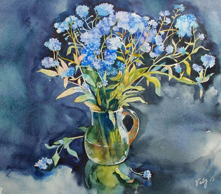 #незабудки, #watercolor, #цветы #акварель #flowers #painting