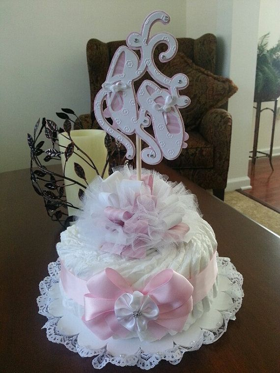 One Tier Ballerina Shoes Diaper Cake Baby By