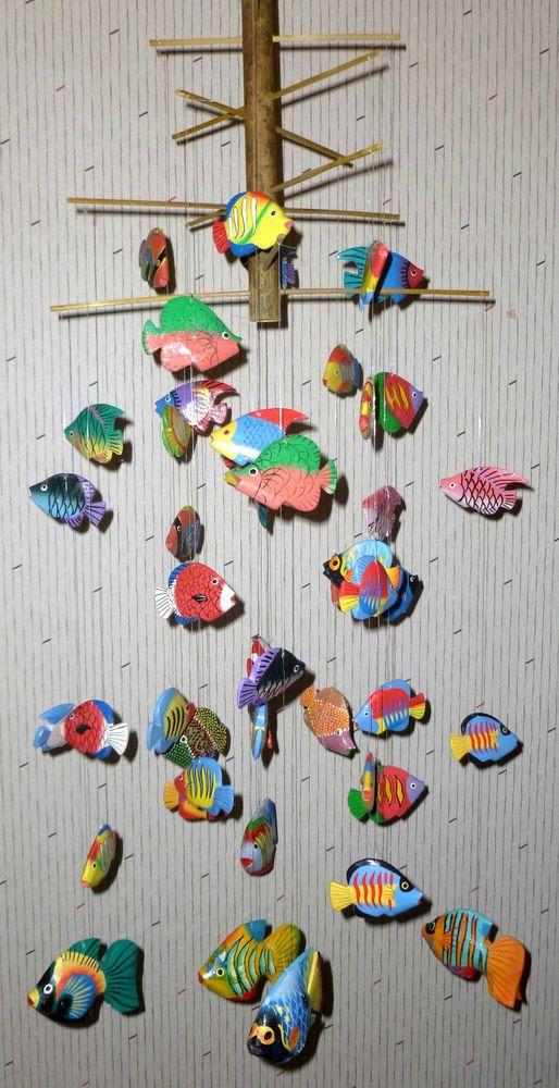 Wooden Fish Mobile 51 Parts Super Colorful Decoration