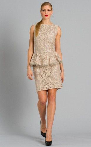#lace #gold #beige #nude #cocktail #elegant #dress #tadashishoji