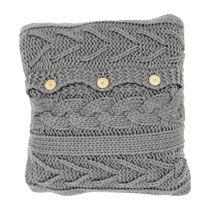 Kussen gebreid kabelpatroon - grijs of wit - 50x50 cm xenos
