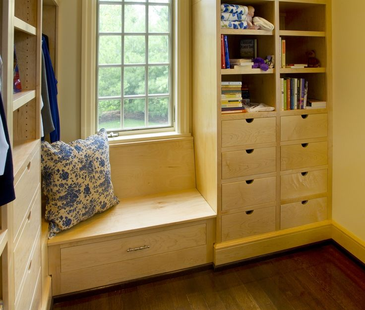 Cubby spaces aren't just for kids anymore! Create a closet you won't dread going into. Start with built-in drawers, and then add a sweet touch like this window seat.