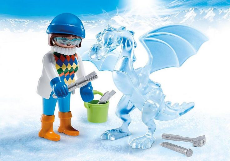Playmobil Ice Sculptor. Watch as the Ice Sculptor chips away to reveal an ice dragon! Play with this set on its own or combine with any other PLAYMOBIL set. Set includes ice sculptor, dragon, ice tools, bucket, and other accessories. $6.99