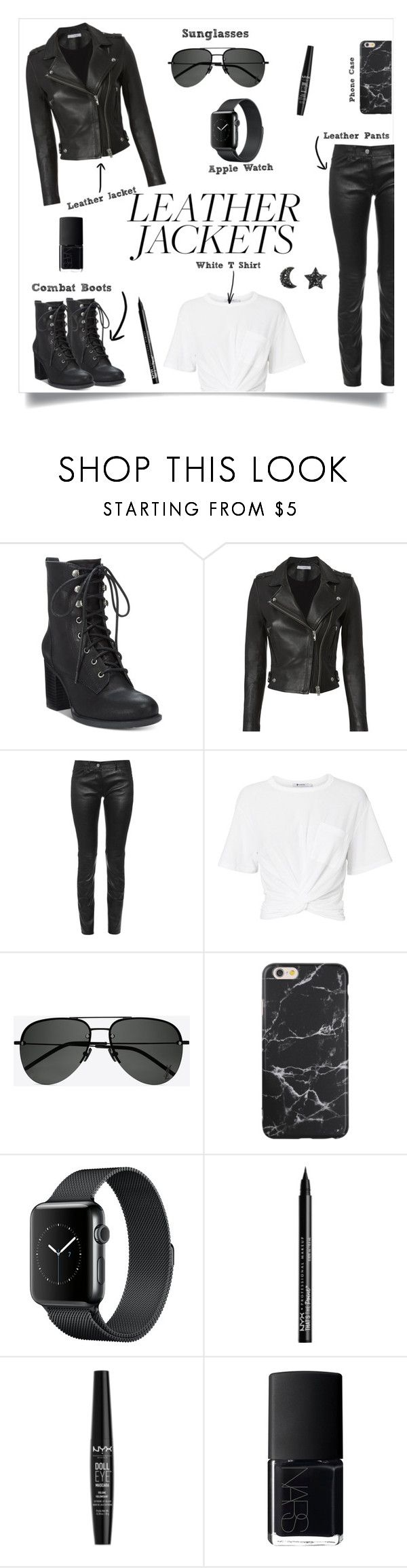 """""""Leather Jacket"""" by bluejasmine360 ❤ liked on Polyvore featuring American Rag Cie, IRO, Balenciaga, T By Alexander Wang, Yves Saint Laurent, NYX, NARS Cosmetics, leatherjacket and leatherjackets"""