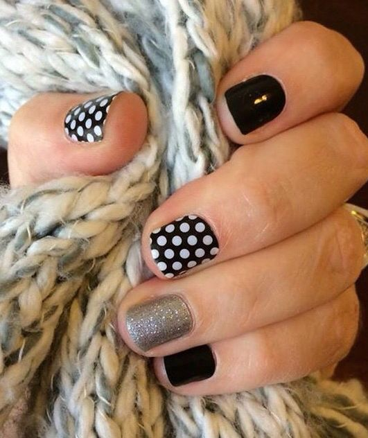 Jamberry Black&White Polka Dot, Darkest Black, Diamond Dust Sparkle (found on Instagram)