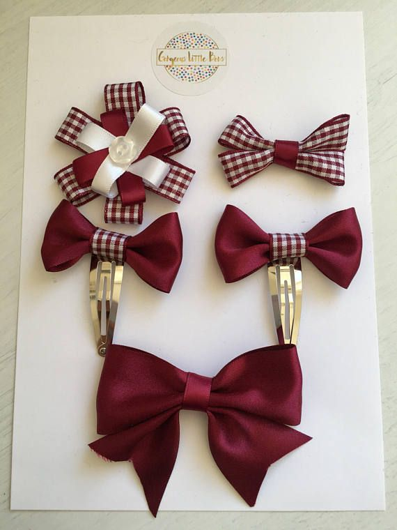 Burgundy and White Gingham School Hair Bows 5 Items Bow Girls Clips Kids Uniform