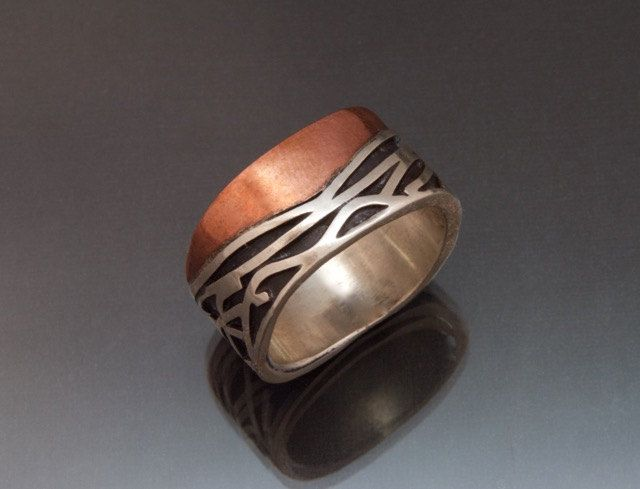 Wide Copper Silver Ring Black Patina - Waves Flowing Lines - Casual - Copper Silver Fusion - Commitment Ring - Handmade in BC Canada by Fullmoonjoolz on Etsy