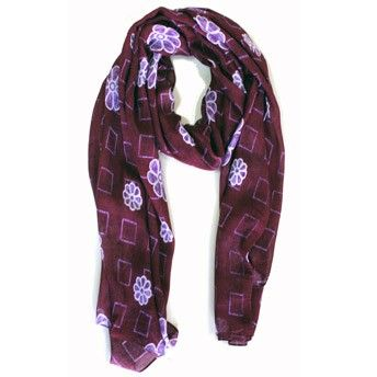 Purple Flower Scarf. Modal fabric. 100% Made in Italy