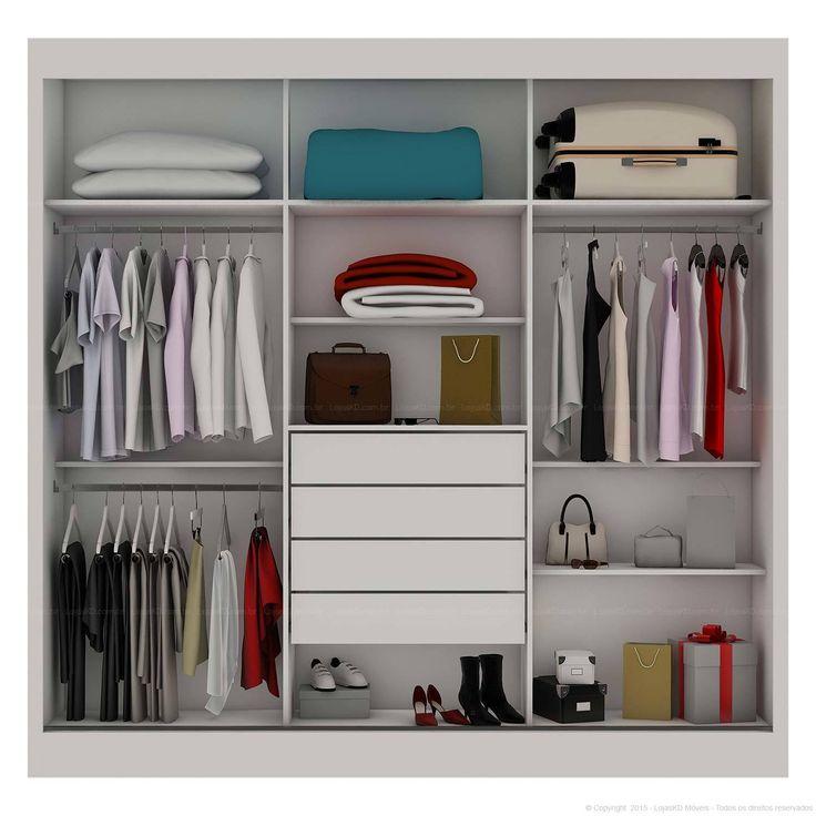Compre Guarda-roupa Ipê 3 Portas de Correr com Espelho 100% MDF Flex Color Reversível Branco/Branco/Nogueira - Móveis Europa em Promoção com ✓ Até 12x ✓ Fretinho