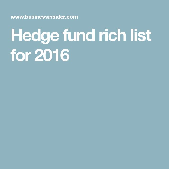 Hedge fund rich list for 2016