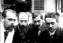 Left to right: Ker-Xavier Roussel, Edouard Vuillard, Romain Coolus, Felix Vallotton, 1899.