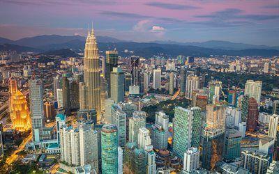 Scarica sfondi Kuala Lumpur, grattacieli, urban panorama, Malesia, Torri Petronas