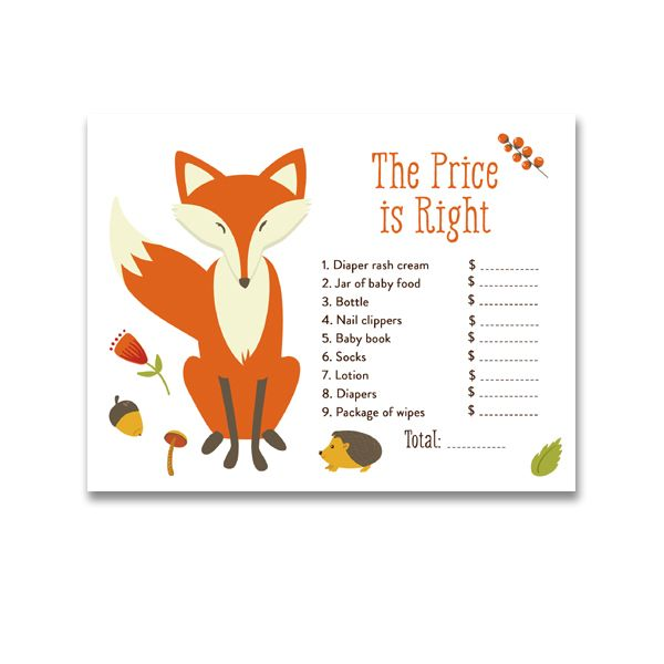 Baby Shower Woodland Fox Forest Baby Animals - Game The Price is Right - Instant Download Printable