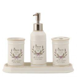 Klassieke badkamerset met mooie lavendel bloemen in het ontwerp. De Savon Lavender badkamerset past prima op of bij de wastafel en heeft een landelijke uitstraling. In gedachten kun je de lavendel bloemen ruiken.   De 4-delige badkamerset bestaat uit: * Zeeppomp, * Tandenborstelbeker, * Zeepschaal, * Beker  Ook erg leuk in de keuken of bij de wastafel in het toilet.  Afmetingen: Zeepdispenser ongeveer 20 cm, doorsnede 6,5 cm Zeepbakje ongeveer 25 x 10 x 2,5 cm Beker 11,5 cm, doorsnede 6,5…