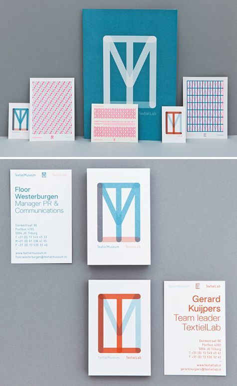 Identity work for the TextielMuseum and TextielLab in the Netherlands by Raw Color. Next to hosting exhibitions about textile and design at the Museum, the Lab produces and develops textile projects with contemporary designers and artists. The letters T, M and L overlap with different opacities and color combinations, and the design quickly becomes its own woven textile, especially when repeated.