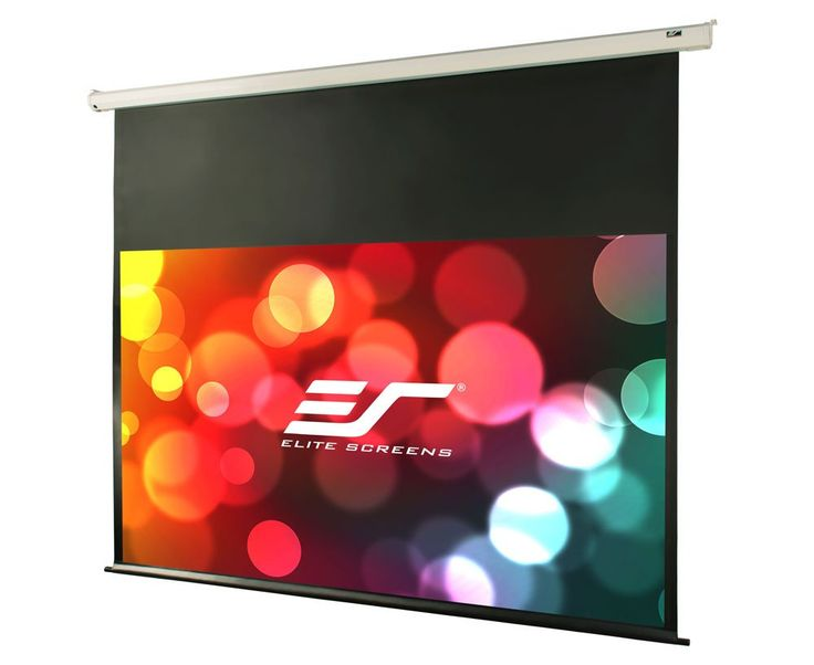 """Elite Screens VMAX2, 120-inch 16:9, 24"""" Drop, Electric Motorized Drop Down HD Projection Projector Screen, VMAX120XWH2-E24. 120-inch Diagonal, 16:9 Aspect Ratio. View Size: 58.8"""" H x 104.6"""" W. Overall Size: 88.9"""" H x 117.8"""" W. Extra 24-inch Drop. White Case. Screen Material: MaxWhite FG, 1.1 Gain. Fiberglass-backed, 180 degree wide viewing angle, fully black backed front projection screen with textured surface. 4K Ultra HD and Active 3D Projection Ready. GreenGuard and GreenGuard GOLD..."""