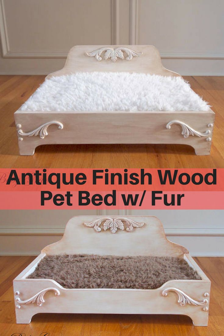 Farmhouse or country style pet bed from Etsy with faux fur mattress. #ad #petbed #catbed #dogbed #petfurniture