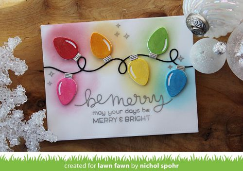 Lawn Fawn String of Lights | Custom Dye Ink Colored Christmas Lights Card