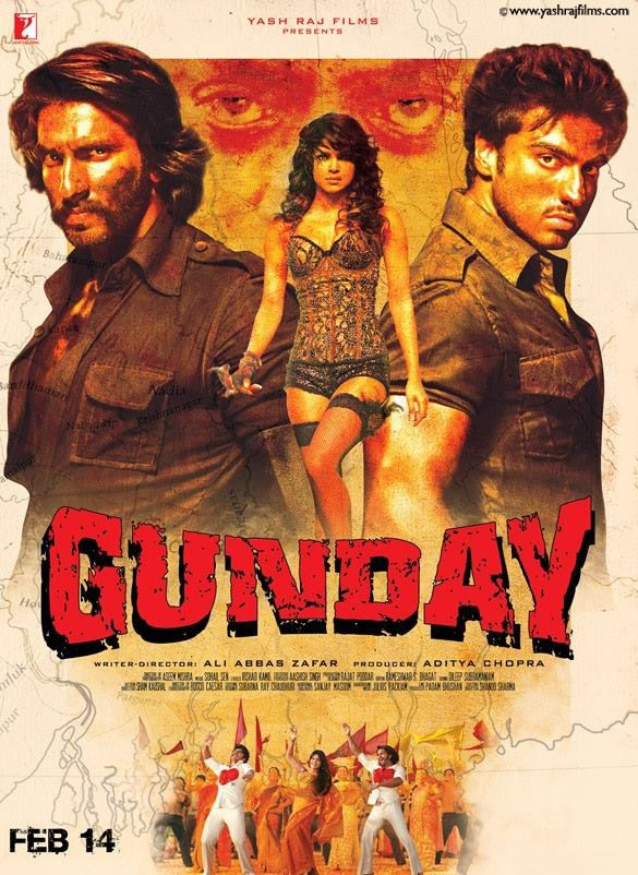 Gunday is an Indian action crime thriller film written and directed by Ali Abbas Zafar and produced by Aditya Chopra. The film features Ranveer Singh and Arjun Kapoor in the lead roles while Priyanka Chopra and Irrfan Khan appear in supporting roles. The film is set in the 1970s, and is about Bikram and Bala, who live their lives on the wrong side of the law, becoming gun carriers and coal bandits.   #bollywood #movies #movies2014 #films #cinema #poster #gunday #gunday2014 #priyankachopra  