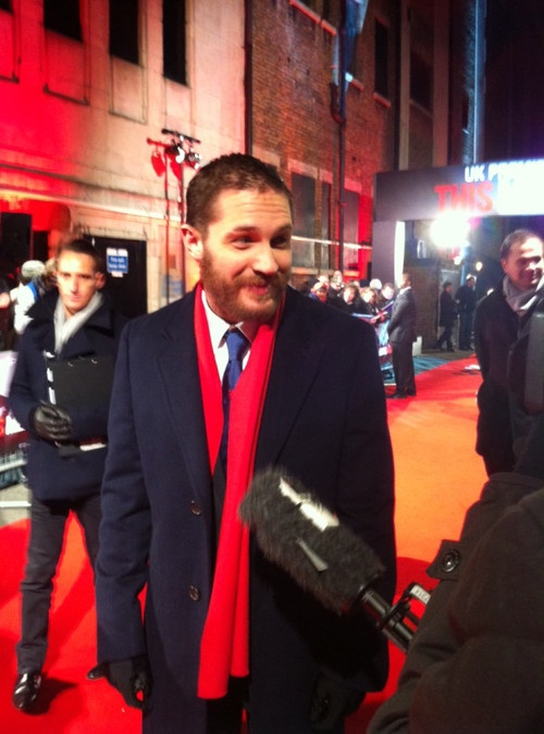 """Journalist asks Tom Hardy what he wears to bed.  Tom Hardy impishly replies: """"Mywife, whenever possible.."""":Love Rules."""
