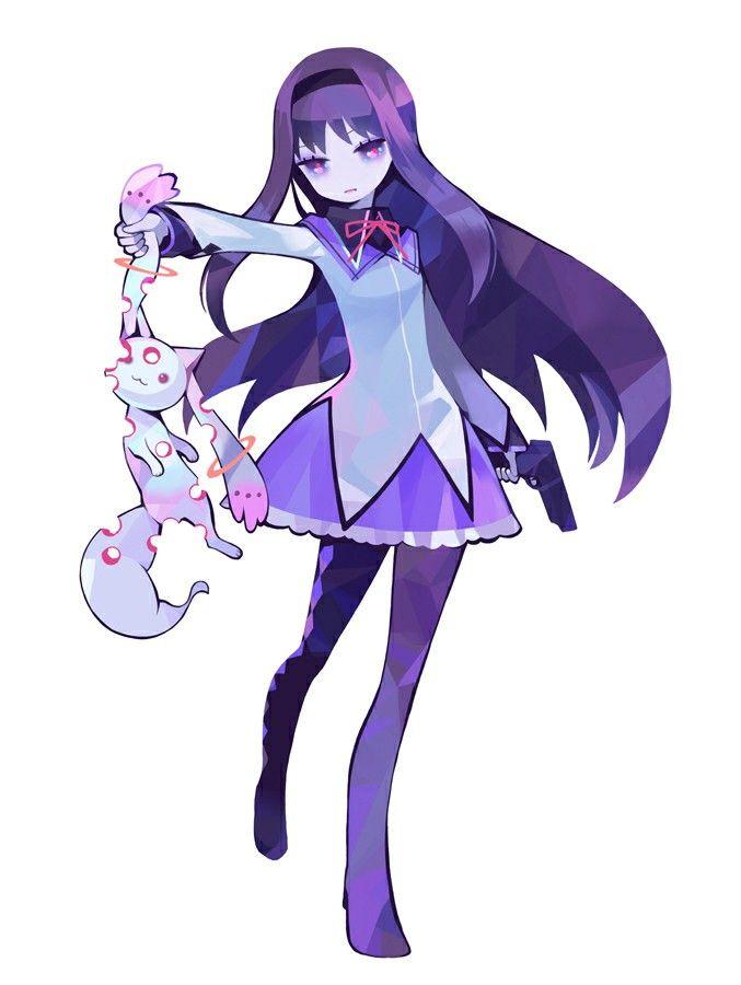 So cute...so evil. Kyubey and Homura - Madoka Magica