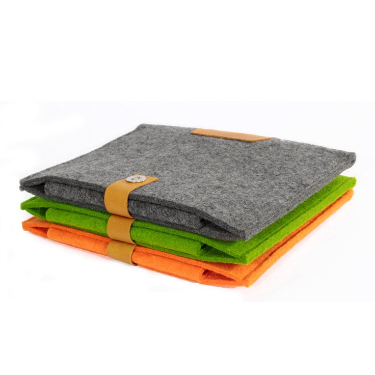 iPad Case iPad Sleeve Wool Felt iPad Case with Genuine Leather Custom Made Felt Case Sleeve Cover Bag for iPad1 2 3-B2071. $25.00, via Etsy.