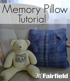 Fast project to turn a loved one's shirt or buttoned jacket into a memory pillow.                                                                                                                                                                                 More