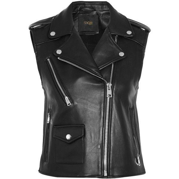 Maje Leather vest (£420) ❤ liked on Polyvore featuring outerwear, vests, jackets, coletes, black, pocket vest, genuine leather vest, maje, leather waistcoat and leather vest