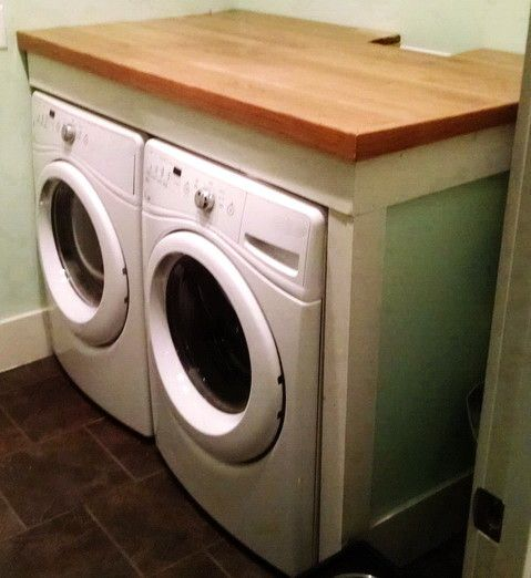 Custom Counter Over Laundry Machines Use A Wood Stain