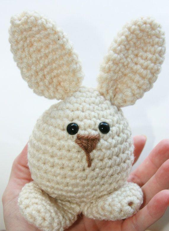Easter Bunny toy, babies first soft crochet amigurumi rabbit $12