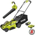 16 in. 40-Volt Lithium-Ion Cordless Lawn Mower with Jet Fan Blower Combo Kit