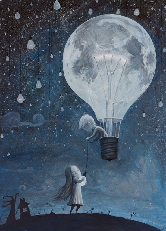 He Gave Me the Brightest Star by Adrian Borda. Oil on canvas. Boy in hot air balloon. Girl holding light bulb. Moon. Shadows. Blue, white, gray, black. Reddit. Deviant Art