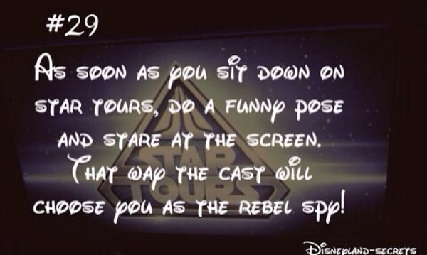 Disneyland-Secret #29: As soon as you sit down on Star Yours, do a funny pose and stare a the screen. That way the cast will choose you as the rebel spy!