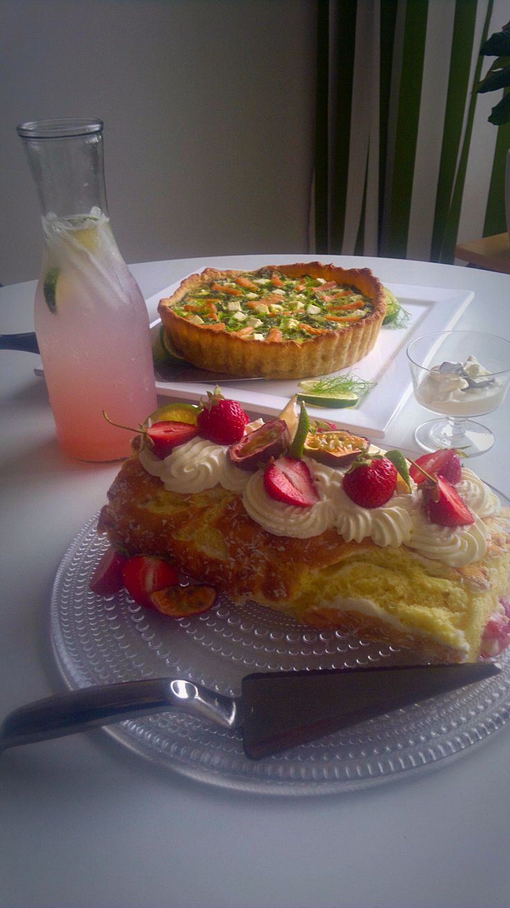 Lemon curd, strawberry and passion fruit roll, salmon, feta and spinach quiche and homemade rhubarb lemonade.