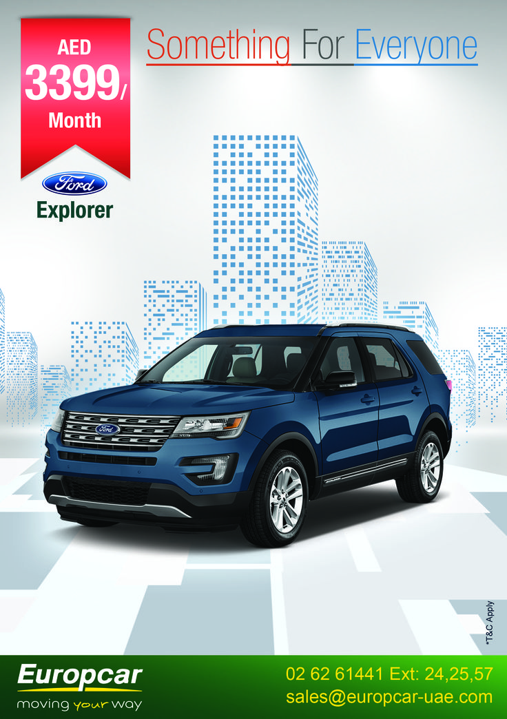 Something for Everyone Lease a vehicle that fits your lifestyle with Europcar Abu Dhabi  Check out our car lease deal of Ford Explorer @ 3399 AED /month/year To know more call us at +971 (2) 6261441 Ext: 24, 25, 57 or email at: sales@europcar-uae.com and book your car today. *T&C Apply visit us : www.europcar-abudhabi.com #Europcar #abudhabi #inabudhabi #ford #lease #edge #expolrer #carental #movingyourway