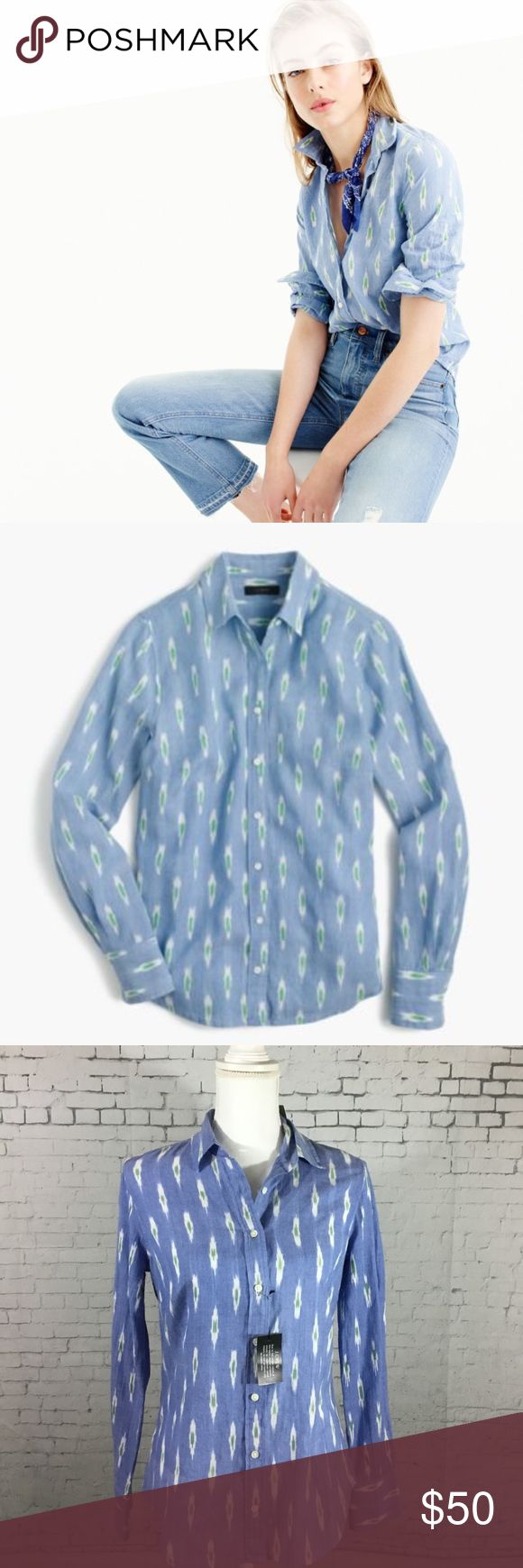 """Nwt J.Crew Ikat Perfect Shirt Size 4 Nwt J.Crew Size 4 Chest: 34"""" Armpit to armpit: 17"""" Length: 25"""" Our perfect shirt features precisely placed darts for a slimming, waist-defining fit that's more tailored and polished than our boy shirt. This one's in a pretty ikat perfect shirt. Cotton. Long roll-up sleeves. Functional buttons at cuffs. Button placket. Machine wash. J.Crew Tops Button Down Shirts"""
