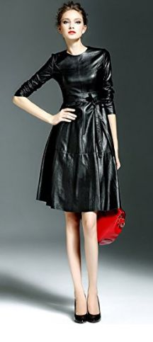 #LBD  Womens Christmas Faux Leather Fashion Midi Bodycon Dress with Belted