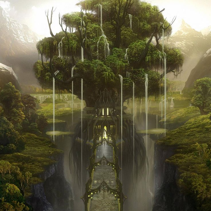Keth - Elven City. The waterfalls in the tree branches are an amazing touch!