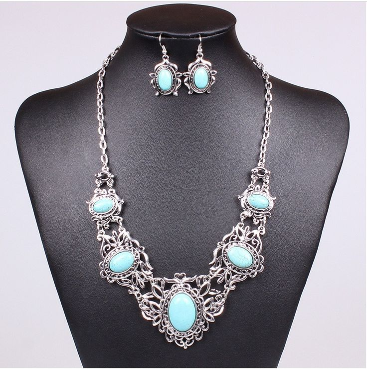 Nepal Ethnic Tibetan Silver Plated Necklace Vintage MN101430 bohemian classic turquoise necklace sets / wholesale Jewelry sets