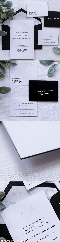 Debossed u0026 Monogram Wedding Invitation Naomi