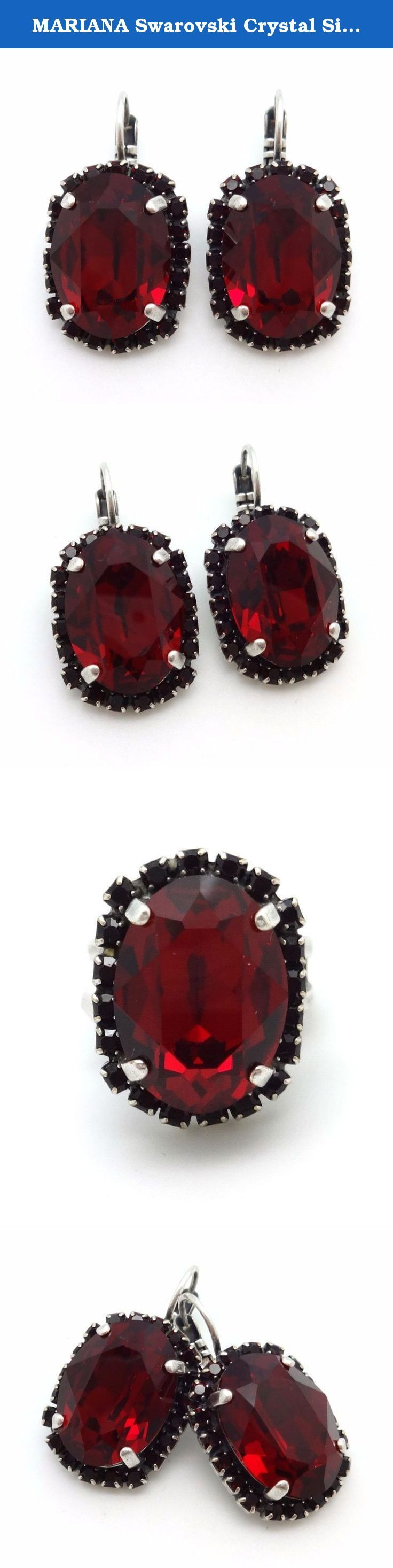 MARIANA Swarovski Crystal Silvertone Plated Earrings Large Red Oval Cut 1070 Lady in Red. The artist and jewelry designer Mariana has been creating unique and original pieces of jewelry since 1997. Mariana's jewelry is famous all over the world. Her naive colorfulness and her flawless interfusion between old and new, fabric and stone, material and spirit is visible in every one of her jewels. It is the foundation; the heart and the core of her creation. Mariana's Jewelry has a lifetime...