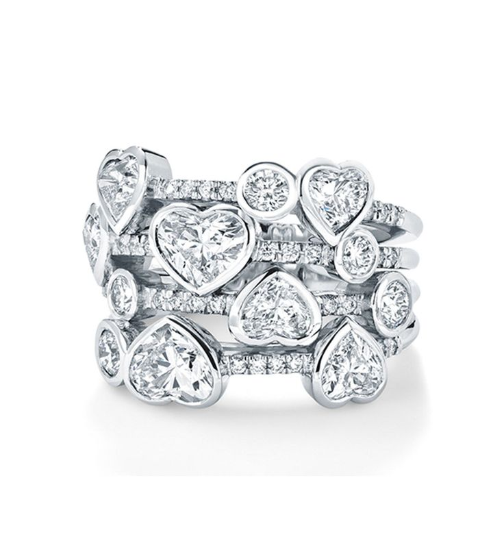 Waterfall Heart Shape Platinum Diamond Ring ~ An exquisite, contemporary diamond ring set with 3.20ct of heart shaped diamonds, with a further 0.62ct of round brilliant cut diamonds, in platinum from the Waterfall collection