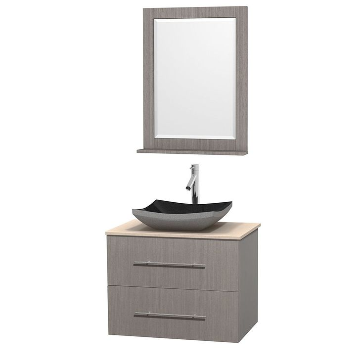 "Wyndham Collection Centra 30-inch Single Bathroom Vanity in Grey Oak, w/ Mirror (Black Granite, Ivory Marble or White Carrera) (30"" Grey Oak,IvMarble Top,Avalon Car Sink,24"" Mir), Size Single Vanities"